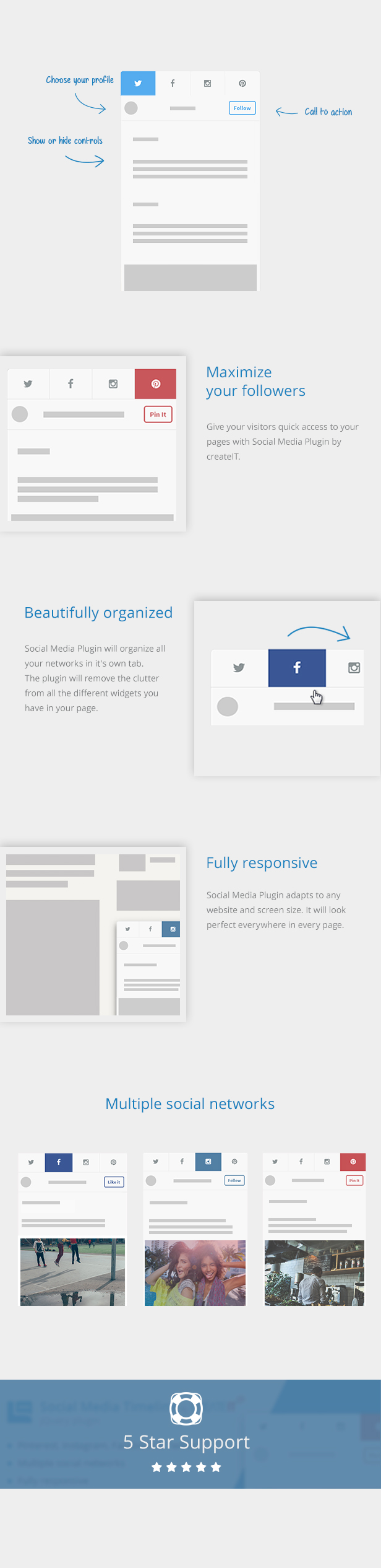jQuery Social Media Timeline description